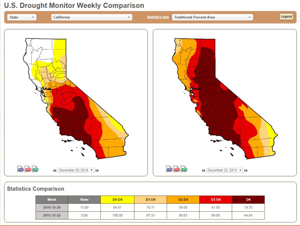 CA Drought Comparison 2015 and 2016
