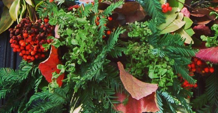 Toyon on the wreath