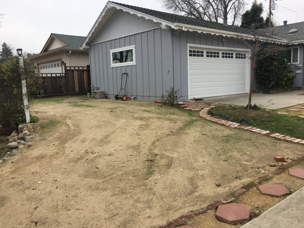 Barren old front yard