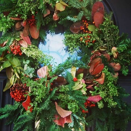 Christmas wreath made with California native plants
